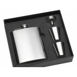 Hip Flask Pljoska Srebrna 200ml sa 2 čašice i levkom
