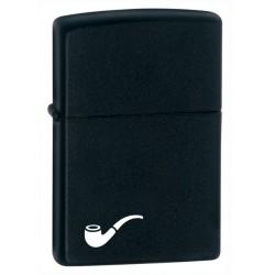 Zippo Black Matte w/pipe logo
